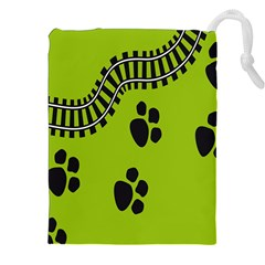 Green Prints Next To Track Drawstring Pouches (XXL)