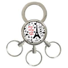 Paris 3-Ring Key Chains