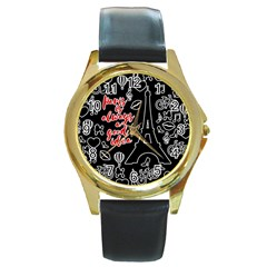 Paris Round Gold Metal Watch