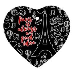 Paris Heart Ornament (Two Sides)