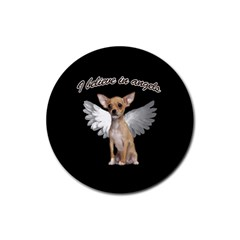 Angel Chihuahua Rubber Coaster (Round)