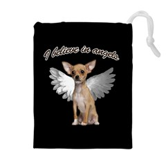 Angel Chihuahua Drawstring Pouches (Extra Large)