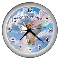 Angel Chihuahua Wall Clocks (Silver)