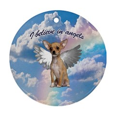 Angel Chihuahua Round Ornament (Two Sides)