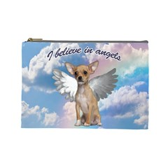 Angel Chihuahua Cosmetic Bag (Large)
