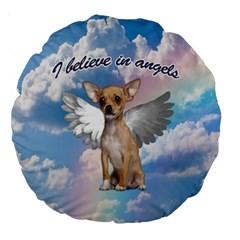 Angel Chihuahua Large 18  Premium Round Cushions