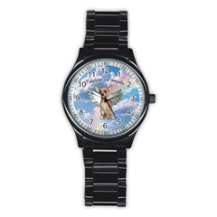 Angel Chihuahua Stainless Steel Round Watch
