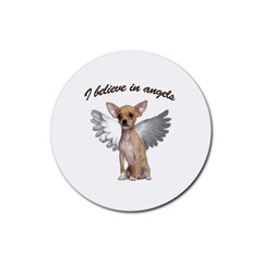 Angel Chihuahua Rubber Round Coaster (4 pack)