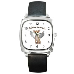 Angel Chihuahua Square Metal Watch