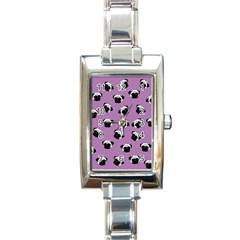 Pug dog pattern Rectangle Italian Charm Watch