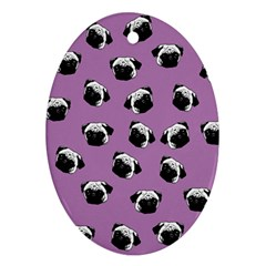 Pug dog pattern Oval Ornament (Two Sides)