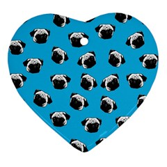 Pug dog pattern Heart Ornament (Two Sides)