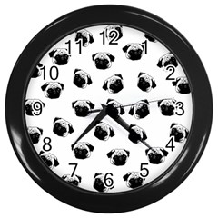 Pug dog pattern Wall Clocks (Black)