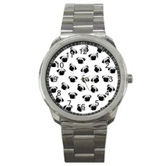 Pug dog pattern Sport Metal Watch