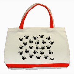 Pug dog pattern Classic Tote Bag (Red)