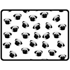 Pug dog pattern Fleece Blanket (Large)