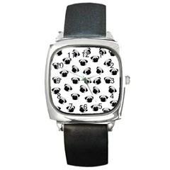 Pug dog pattern Square Metal Watch