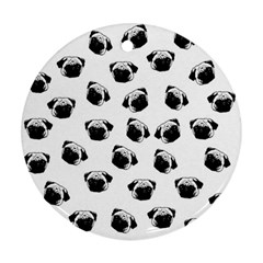 Pug dog pattern Round Ornament (Two Sides)