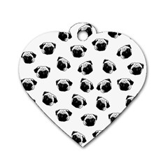 Pug dog pattern Dog Tag Heart (Two Sides)