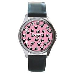 Pug dog pattern Round Metal Watch