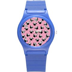 Pug dog pattern Round Plastic Sport Watch (S)