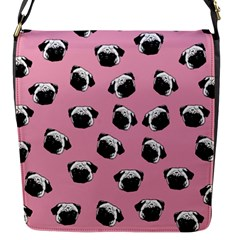 Pug dog pattern Flap Messenger Bag (S)
