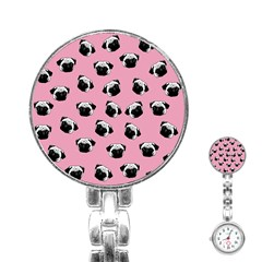 Pug dog pattern Stainless Steel Nurses Watch