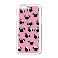 Pug dog pattern Apple iPhone 6/6S White Enamel Case