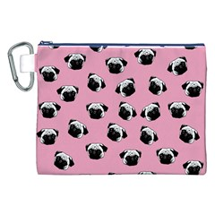 Pug dog pattern Canvas Cosmetic Bag (XXL)