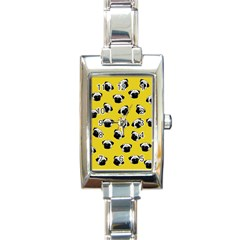 Pug dog pattern Rectangle Italian Charm Watch