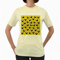 Pug dog pattern Women s Yellow T-Shirt