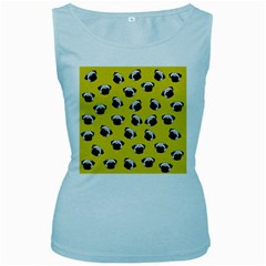 Pug dog pattern Women s Baby Blue Tank Top