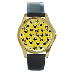 Pug dog pattern Round Gold Metal Watch