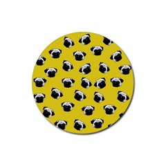 Pug dog pattern Rubber Coaster (Round)