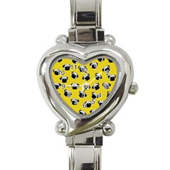 Pug dog pattern Heart Italian Charm Watch
