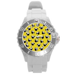 Pug dog pattern Round Plastic Sport Watch (L)