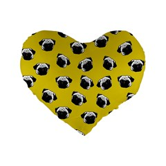 Pug dog pattern Standard 16  Premium Heart Shape Cushions