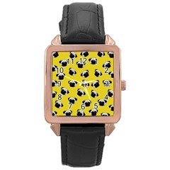 Pug dog pattern Rose Gold Leather Watch