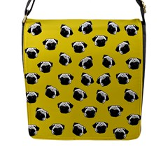 Pug dog pattern Flap Messenger Bag (L)
