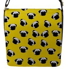 Pug dog pattern Flap Messenger Bag (S)