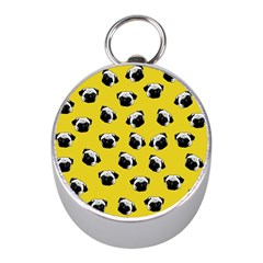 Pug dog pattern Mini Silver Compasses