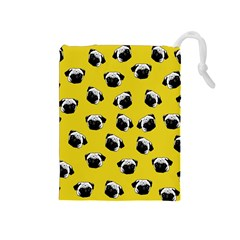 Pug dog pattern Drawstring Pouches (Medium)