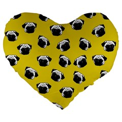 Pug dog pattern Large 19  Premium Flano Heart Shape Cushions