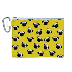Pug dog pattern Canvas Cosmetic Bag (L)
