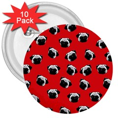 Pug dog pattern 3  Buttons (10 pack)