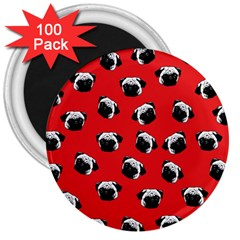 Pug dog pattern 3  Magnets (100 pack)