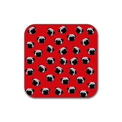 Pug dog pattern Rubber Square Coaster (4 pack)