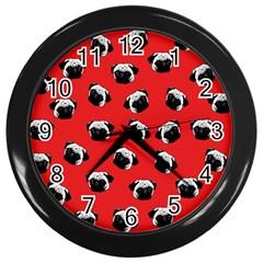 Pug dog pattern Wall Clocks (Black)