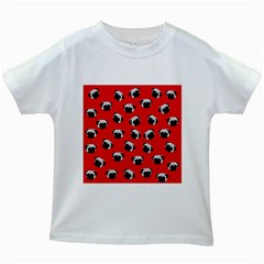 Pug dog pattern Kids White T-Shirts