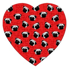 Pug dog pattern Jigsaw Puzzle (Heart)